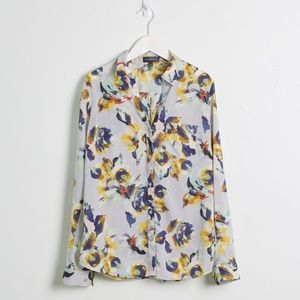 The Limited Lt. Blue Floral Long Sleeve Button Up